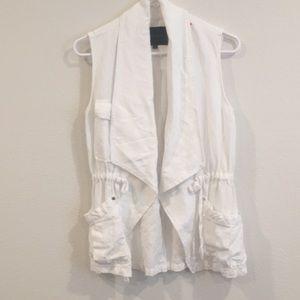 Sanctuary white linen drawstring vest